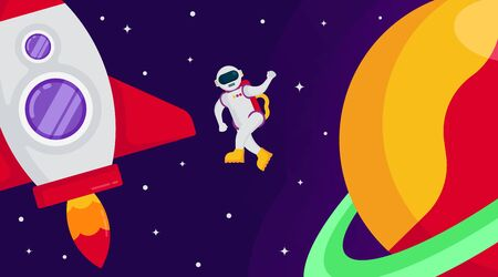 Flat outer space background illustration vector