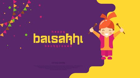Happy baisakhi background illustration vector. Indian festival celebration element and wishing Vektorové ilustrace