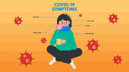 Flat infographic about what coronavirus is and how to prevent it with illustrated girl