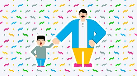 Happy father's day illustration vector with flat colorful illustration design