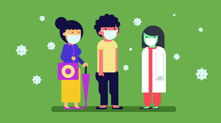 People use masker to protect them self from covid-19 Ilustración de vector