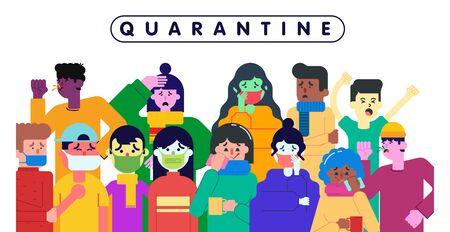 People who are quarantined because of the coronavirus pandemic illustration vector Ilustração
