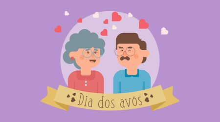 Dia dos avós illustration vector. Flat illustration of happy grandparents' day