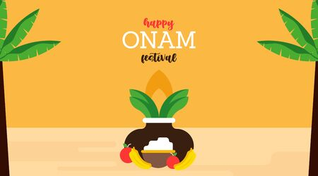 Happy onam festival illustration vector. National holiday of India