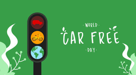 World car free day illustration vector. World car free day banner vector