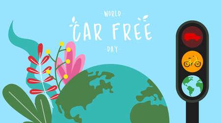 World car free day illustration vector. World car free day banner vector Vecteurs
