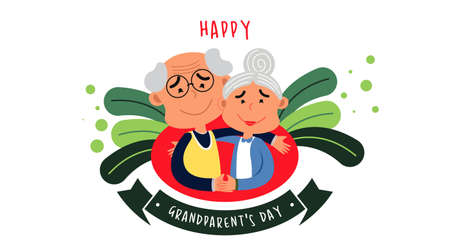 Happy grandparent's day web banner illustration vector