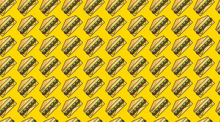 Fast food seamless pattern background illustration Vettoriali