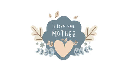 Vintage hand drawn mother's day label collection vector.