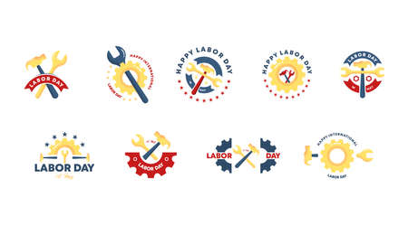 Flat happy labor day badge collection vector. 1st of may labour day background vector set.  イラスト・ベクター素材