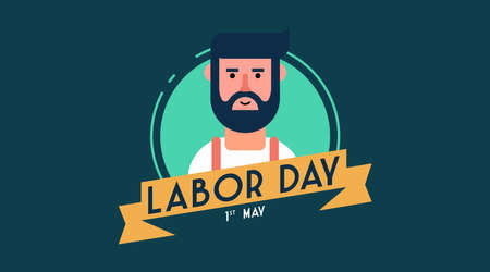 Happy labor day worker badge collection vector. 1st of may labour day background vector.