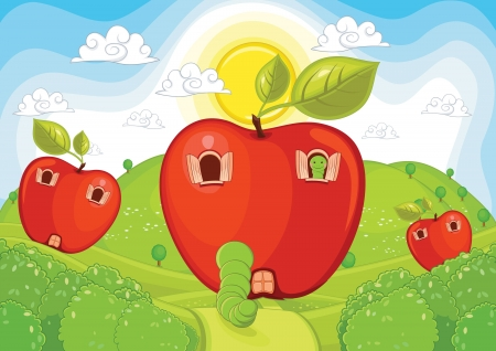 apple worm: Apple home illustration