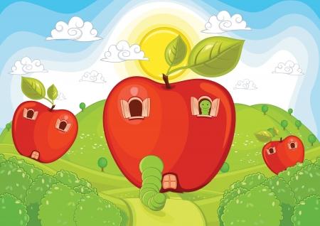 montañas caricatura: Apple Inicio ilustración