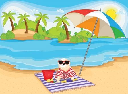 Leuke hond met plezier op het strand illustratie Stock Illustratie