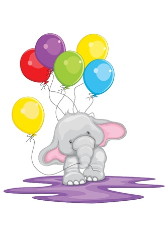 Cute elephant walking with balloons illustration