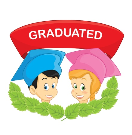 Kids graduated illustration