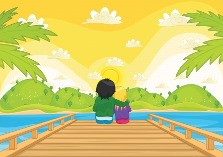 pier: Kids sitting on pier illustration
