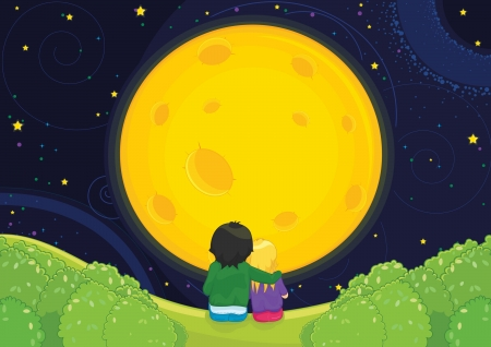Kids sitting under moonlight illustration