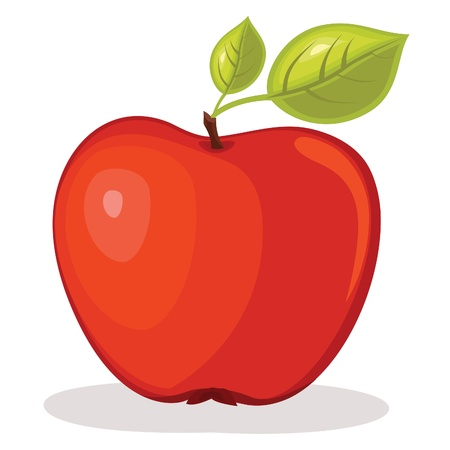manzana caricatura: Manzana roja ilustración Vectores