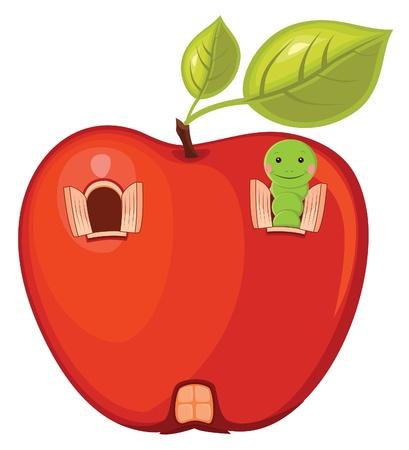 Manzana ilustración de gusano Foto de archivo - 14199800