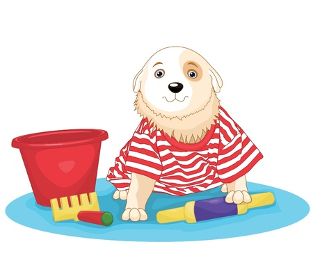 Cute dog sitting illustration