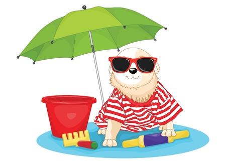 Cute dog sitting under umbrella illustration Vector