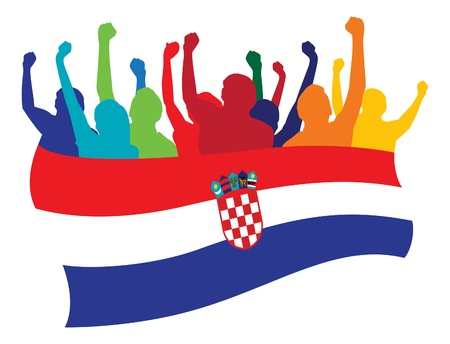 bandera croacia: Croacia aficionados ilustraci�n