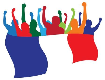 bandera francia: Francia, los aficionados ilustraci�n
