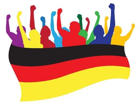 germany flag: Germania fans illustrazione Vettoriali