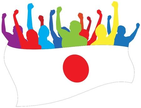 Japan fans illustration
