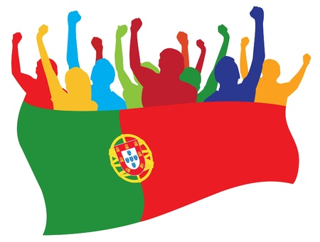 soccer fan: Portugal fans illustration