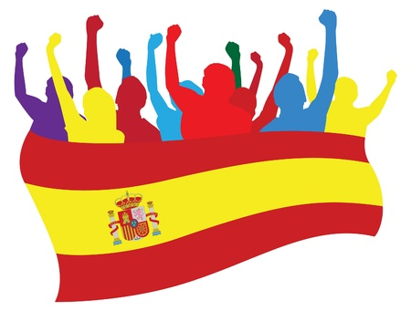 Spain fans vector illustration Ilustrace