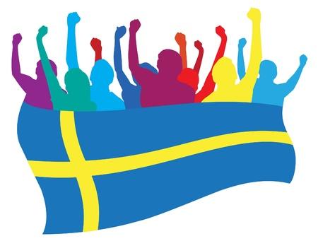 crowd cheering: Sweden fans illustration