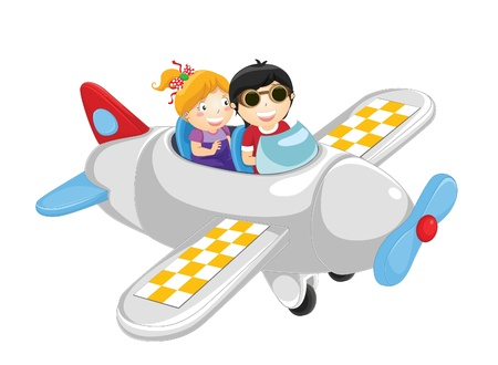 Kids flying by plane illustration Vector