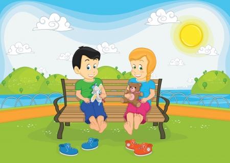 Kids sitting on bench illustration