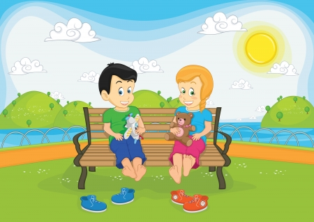 Kids sitting on bench illustration