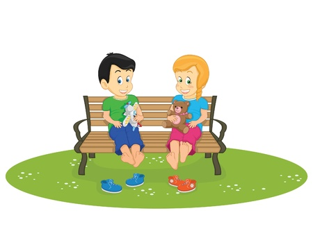 darling: Kids sitting illustration Illustration