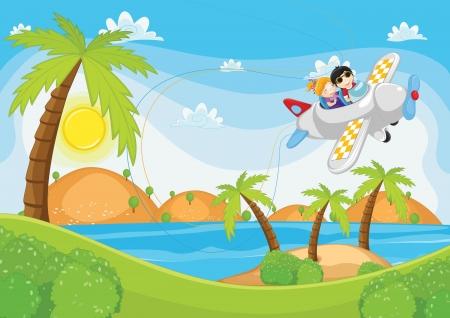 Kinderen vliegen met het vliegtuig illustratie Stock Illustratie