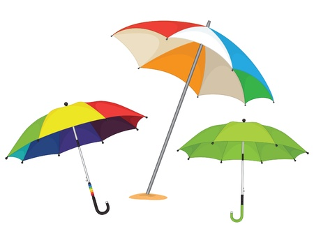 Set of umbrellas illustration Vectores