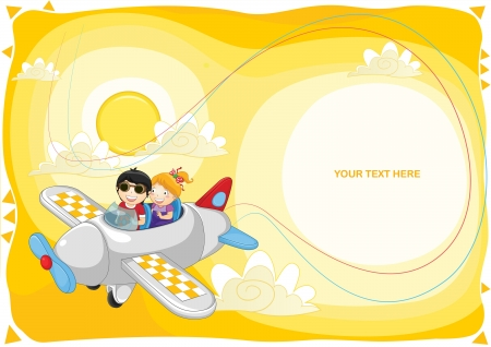 Kids flying illustration Vector