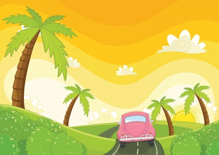 yellow car: Sunset illustration Illustration