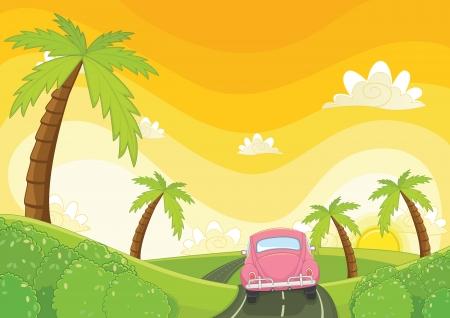 Sunset illustration Stock Illustratie