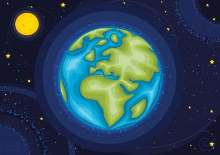 sonne mond und sterne: Welt-Illustration Illustration
