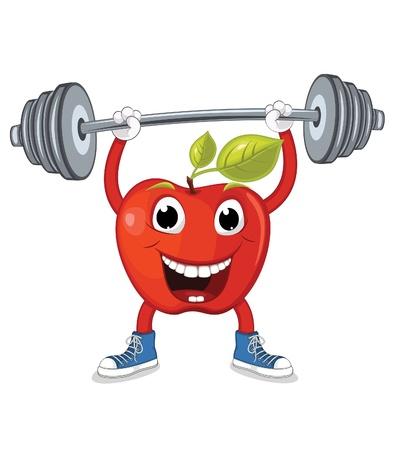 vegetable cartoon: Apple weightlifting vector illustration Illustration