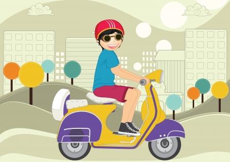 Kid riding bike vector illustration