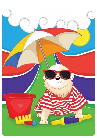 sunbath: Doggy with colorful background vector illustration Illustration