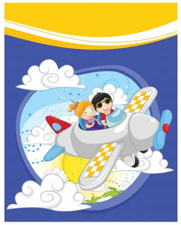 Kids flying vector illustration Vector