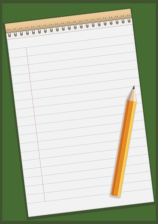 writing equipment: Notepad with pencil vector illustration