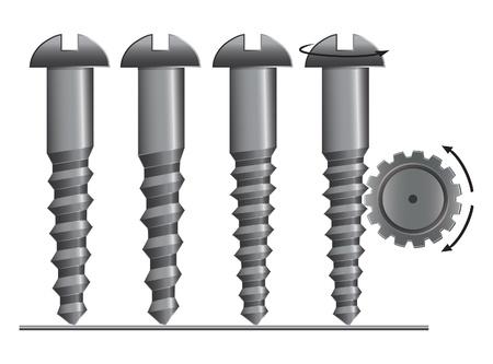 Schroef met tandrad vector illustratie