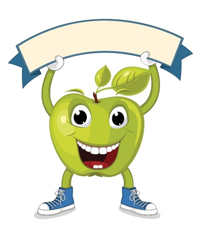 Apple with Banner  Illustration